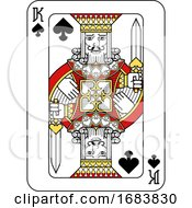 Poster, Art Print Of Playing Card King Of Spades Red Yellow And Black