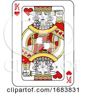 Poster, Art Print Of Playing Card King Of Hearts Red Yellow And Black