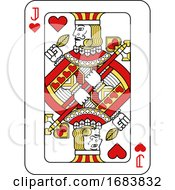 Poster, Art Print Of Playing Card Jack Of Hearts Red Yellow And Black