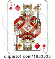 Poster, Art Print Of Playing Card Jack Of Diamonds Red Yellow And Black