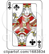 Poster, Art Print Of Playing Card Queen Of Clubs Red Yellow And Black