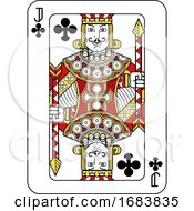 Poster, Art Print Of Playing Card Jack Of Clubs Red Yellow And Black