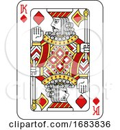 Poster, Art Print Of Playing Card King Of Diamonds Red Yellow And Black