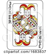 Poster, Art Print Of Playing Card Joker Red Yellow And Black