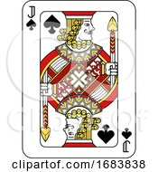 Poster, Art Print Of Playing Card Jack Of Spades Red Yellow And Black