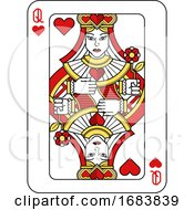 Poster, Art Print Of Playing Card Queen Of Hearts Red Yellow And Black