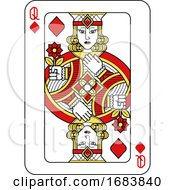 Poster, Art Print Of Playing Card Queen Diamonds Red Yellow And Black
