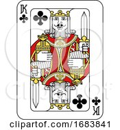 Playing Card King Of Clubs Red Yellow And Black