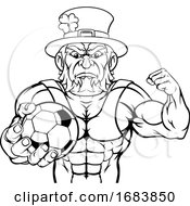 Leprechaun Holding Soccer Ball Sports Mascot