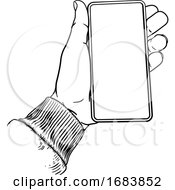 Poster, Art Print Of Hand Holding Mobile Phone Vintage Style