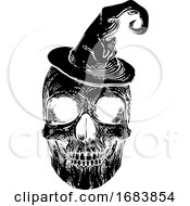 Poster, Art Print Of Halloween Skull In Witch Hat