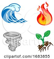 Four Elements Earth Water Air Fire Icon Set
