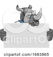 Rhino Cartoon Mascot Handyman Holding Sign by AtStockIllustration