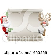 10/11/2019 - Santa Claus And Reindeer Christmas Scroll Sign