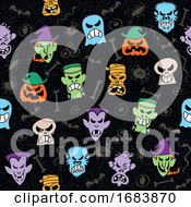 Poster, Art Print Of Halloween Faces Pattern