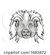Cottontop Tamarin Endangered Wildlife Cartoon Mono Line Drawing