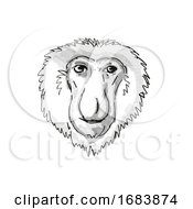 Proboscis Monkey Endangered Wildlife Cartoon Retro Drawing