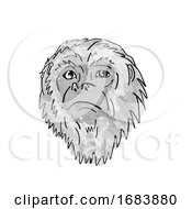 Yucatan Black Howler Monkey Cartoon Retro Drawing