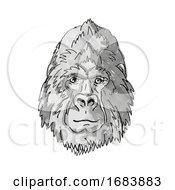 Poster, Art Print Of Silver Back Or Mountain Gorilla Cartoon Retro Drawing