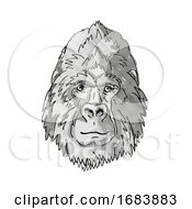 Silver Back Or Mountain Gorilla Cartoon Retro Drawing