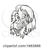 Poster, Art Print Of Sumatran Orangutan Endangered Wildlife Cartoon Mono Line Drawing