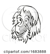 Sumatran Orangutan Endangered Wildlife Cartoon Mono Line Drawing