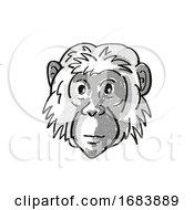 Poster, Art Print Of Bonobo Or Pan Paniscus Endangered Wildlife Cartoon Mono Line Drawing