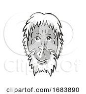 Poster, Art Print Of Sumatran Orang-Utan Or Pongo Abelii Endangered Wildlife Cartoon Mono Line Drawing