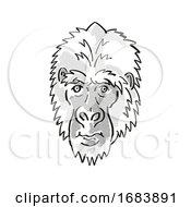 Poster, Art Print Of Eastern Gorilla Or Gorilla Berengei Endangered Wildlife Cartoon Mono Line Drawing