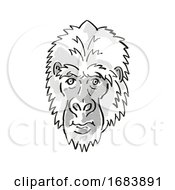 Eastern Gorilla Or Gorilla Berengei Endangered Wildlife Cartoon Mono Line Drawing