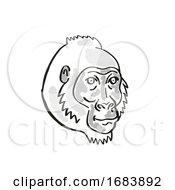 Poster, Art Print Of Cross River Gorilla Or Gorilla Gorilla Diehli Endangered Wildlife Cartoon Mono Line Drawing