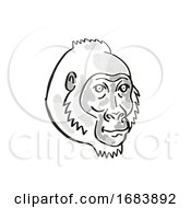 Cross River Gorilla Or Gorilla Gorilla Diehli Endangered Wildlife Cartoon Mono Line Drawing