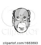 Bornean Orang Utan Endangered Wildlife Cartoon Mono Line Drawing