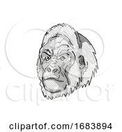 Poster, Art Print Of Western Lowland Gorilla Endangered Wildlife Cartoon Retro Drawing