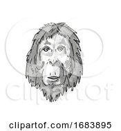 Orangutan Endangered Wildlife Cartoon Retro Drawing