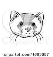 Black Footed Ferret Endangered Wildlife Cartoon Mono Line Drawing