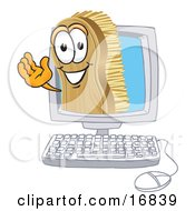 Clipart Picture Of A Scrub Brush Mascot Cartoon Character Waving From Inside A Computer Screen
