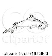 Scalloped Hammerhead Or Sphyrna Lewini Endangered Wildlife Cartoon Mono Line Drawing