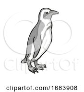 African Penguin Or Spheniscus Demersus Endangered Wildlife Cartoon Mono Line Drawing