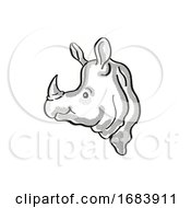 Greater One Horned Rhino Or Indian Rhino Endangered Wildlife Cartoon Mono Line Drawing
