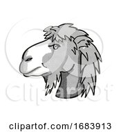 10/13/2019 - Bactrian Camel Or Camelus Bactrianus Endangered Wildlife Cartoon Mono Line Drawing