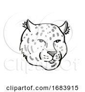 10/13/2019 - Amur Leopard Endangered Wildlife Cartoon Mono Line Drawing