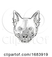 10/13/2019 - African Wild Dog Or Lycaon Pictus Endangered Wildlife Cartoon Retro Drawing