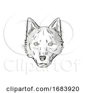 10/13/2019 - Red Wolf Endangered Wildlife Cartoon Retro Drawing