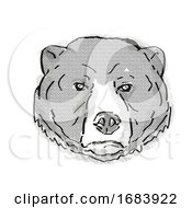 Sun Bear Or Helarctos Malayanus Endangered Wildlife Cartoon Retro Drawing
