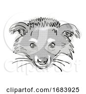 Binturong Or Arctictis Binturong Endangered Wildlife Cartoon Retro Drawing