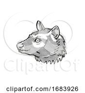 Asian Palm Civet Or Common Palm Civet Endangered Wildlife Cartoon Retro Drawing