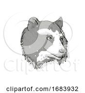 Poster, Art Print Of Spectacled Bear Endangered Wildlife Cartoon Retro Drawing