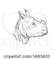 Poster, Art Print Of Indian Rhinoceros Endangered Wildlife Cartoon Retro Drawing