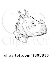 Indian Rhinoceros Endangered Wildlife Cartoon Retro Drawing by patrimonio